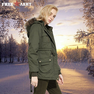 New 2018 Winter Cotton Jacket Parka Women Fur Collar Thick Loose Size Warm