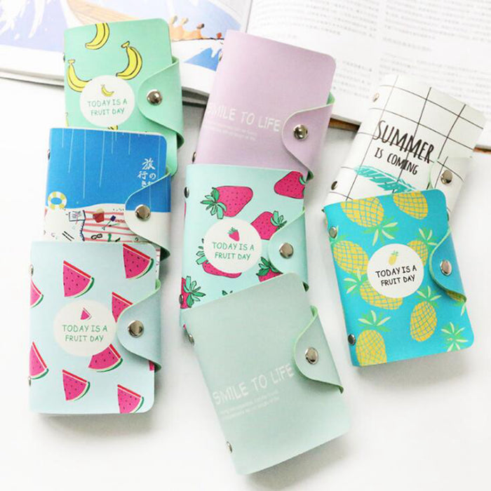 Cute 24 Bits Card ID Holders Case PU Leather Function Business Card Holder Women Credit Passport Card Bag Passport Card Wallet