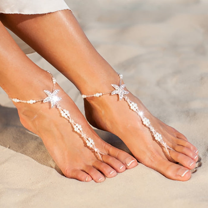 SRCOI Sexy Ladies Starfish Anklet For Girls Boho Pearl Foot Jewelry Anklet Beaded Chain Barefoot Sandals Bridal Wedding Jewelry