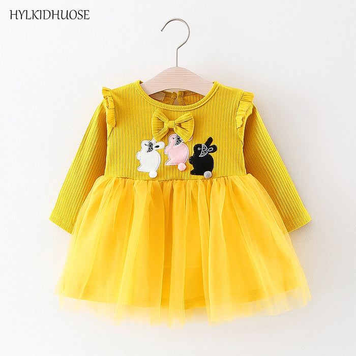 HYLKIDHUOSE 2018 Spring Baby Girls Dress Infant Cartoon Princess Dress Bowknot Lace Children Kids Long Sleeve Dress