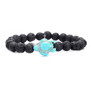 Summer Style Sea Turtle Beads Bracelets For Women Men Classic 8MM Blue