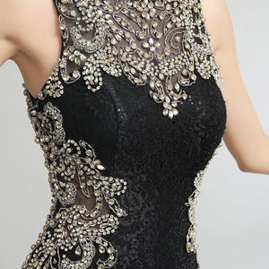 Elegant Lace Long Mermaid Prom Dresses Black Sequin with Beading