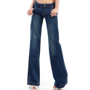 2018 New Style Womans Wide Leg Jean Pants , Slim Fashion Casual Denim Trousers