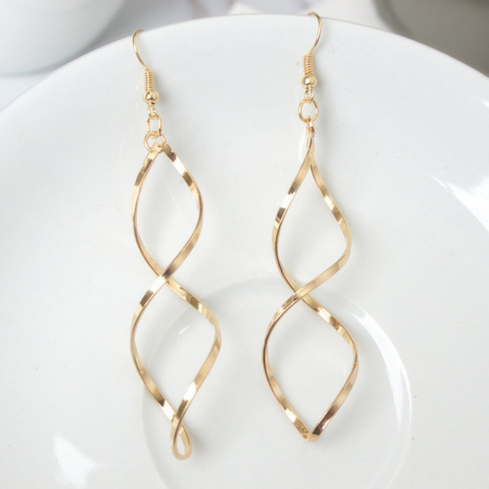 E0247 Fashion Double Loop Drop Earrings For Women Long Wave Dangle