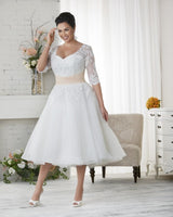 Length Plus Size Long Wedding Dresses Half Sleeves Appliques Lace Beaded