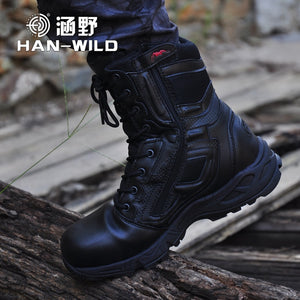 Mens Military Army Boot Genuine Leather Vintage Lace Up Waterproof Safety