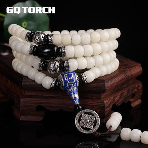 Authentic Natural White Bodhi Seed Mantra OM Beeds Bracelets