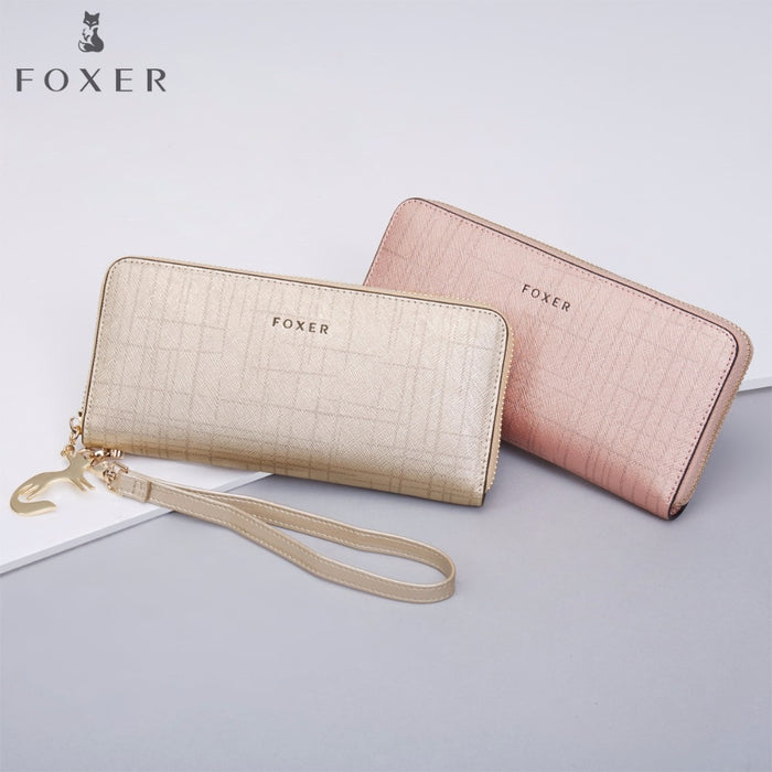 FOXER Women Cow Leather Long Wallet Fashion Wristlet Clutch Purse Cellphone bag with Wrist Strap Wallets for Women