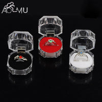 AOMU 1PC Elegant 3.8*3.8cm Portable Acrylic Transparent Rings Earring Display Box Wedding Jewelry Package Box Wholesale