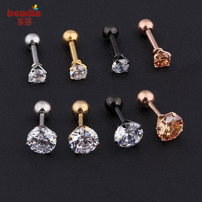 2pcs/bag Silver Gold color Crystal Cartilage Earring  Top Upper Body
