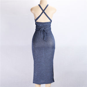 Elegant Lake Blue Cocktail Women Long Knitting Dress 2018 Autumn