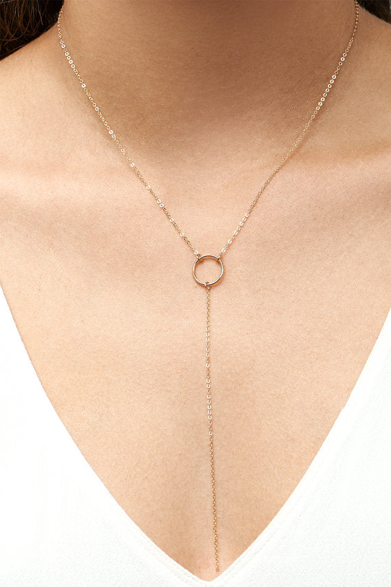 PINJEAS Simple Y Drop Necklace Handmade  Fashion Circle short lariat bar Jewelry presents for women gift birthday
