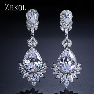 ZAKOL Fashion Zircon Chandelier Elegent Wedding Jewelry Luxury Long CZ Crystal