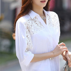 Large Size 3XL Summer Female White Tops Women's Blouse Fashion Spring Casual