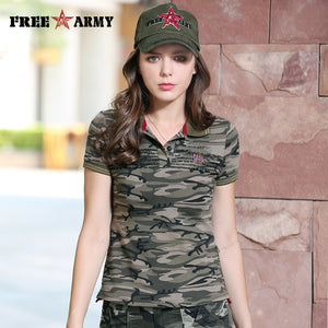 FreeArmy Summer Camo t Shirts Women Turn Down Collar Fashion Military Female