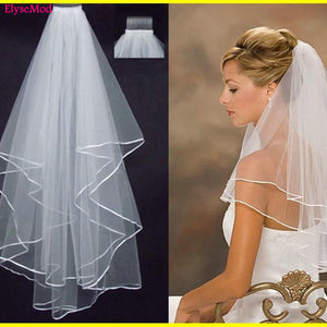New Arrived Two Layer Satin Edge Wedding Bridal Veils