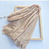 Marte&Joven Deer Bronzing Scarf for Women Fashion Spring Autumn Large Size Luxury Shawl Hijab Warm Fringed Scarves Stoles Female