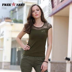 FreeArmy Brand Summer Women's Tops Tees Fashion Sexy Army Green T Shirts With