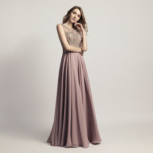 New Arrival Cheap Long Prom Dresses Chiffon Sheer Neck Illusion