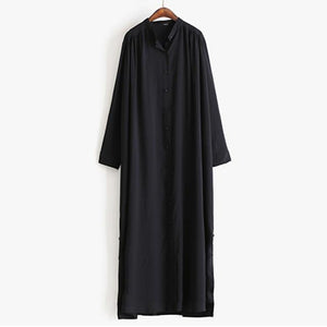 TWOTWINSTYLE Long Shirt Dress Female V Neck Split Single Breasted