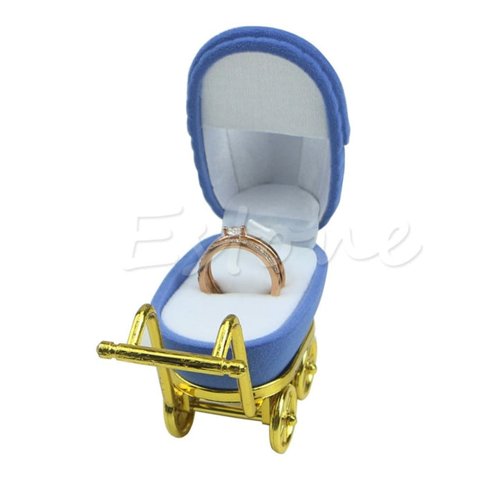 JAVRICK Jewelry Box Gift Trolley Shape Blue Velvet Ring Box Earring Pendant Locket