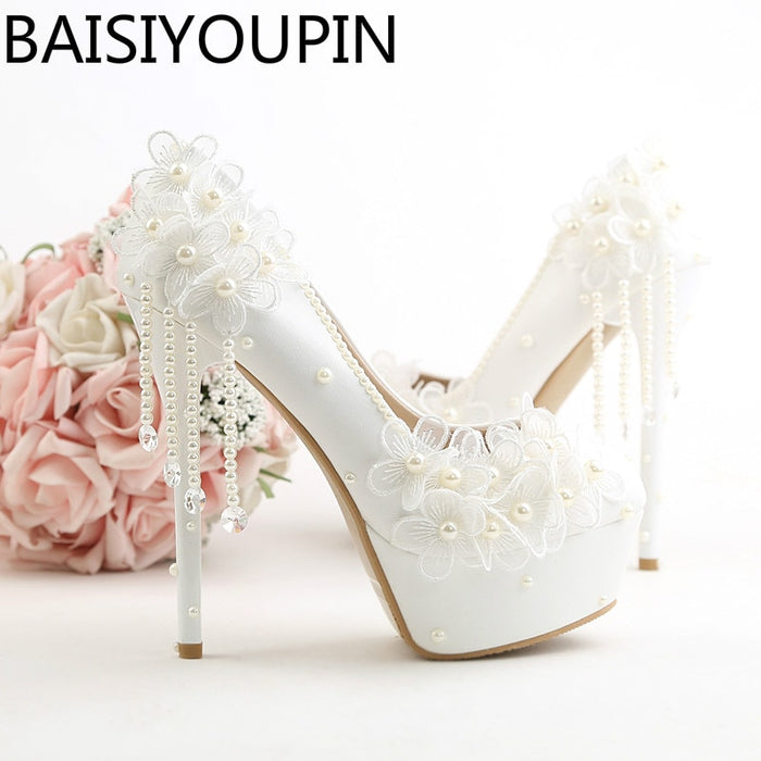 Beautiful White Flowers Tassel Bridal Shoes Super High Heel 14cm Slender Bridal Shoe for Women Wedding Shoes Girl  Dress Shoes