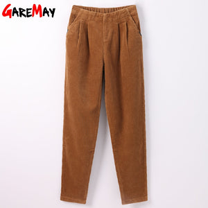 Garemay Trousers Women Elastic Waist Loose Casual Pant Large Size High Waist Wide