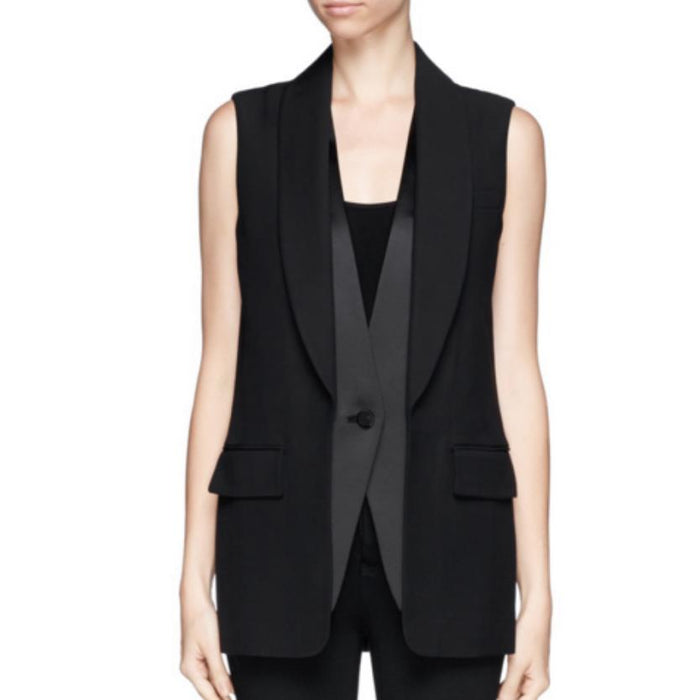 waistcoat Women Slim cotton vest women button Sleeveless Blazer Vest