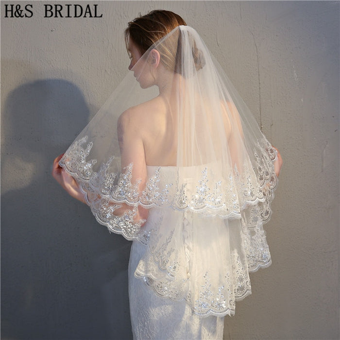 H&S Bridal Real Voile 90CM Short veil two Layers Lace Sequined Edge Ivory