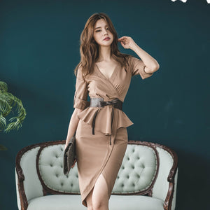 Women Office Dress Autumn Fake Two Pieces Ruffles Peplum Three Quarter Sleeve