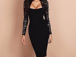 Elegant Women Lace Long Sleeve Bodycon Bandage Dress Sexy Ladies