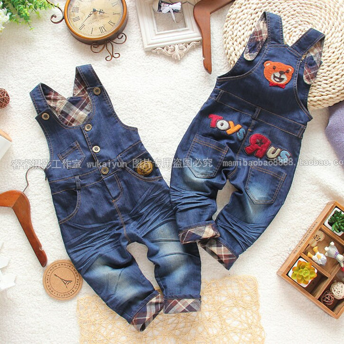 Retail new 2015 Spring autumn children denim overalls kids pants baby boy casual pants baby girl Denim bib pants