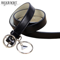 Best YBT Women's Belt Circle buckle rings Casual Belt Pin buckle Imitation leather women's cowboy pants slender waist Belt