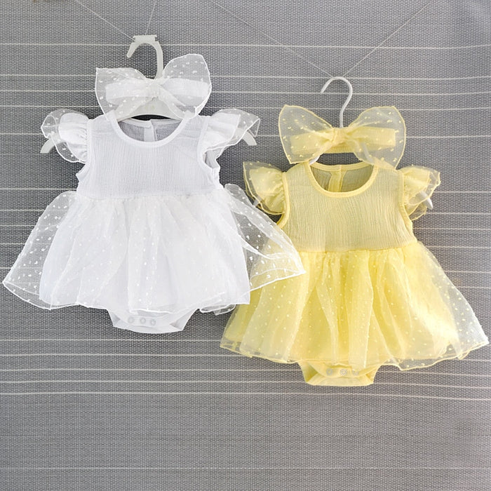 Princess Newborn Baby Dress Girls Summer Tulle Lace Party Dress with Headbands for Girl Clothing Set Infant Dresses