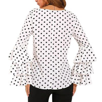 Women Blusas Polka Dot Print Flare Sleeve  Shirts O-neck Long Sleeve Chiffon Blouse Tops Korean White Black Blouse