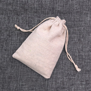 100pcs/lot Natural Color Cotton Bags Small Linen Drawstring Gift Bag Muslin