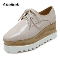 Aneikeh 2018 European Famous Brand Brogue Shoes Woman Spring