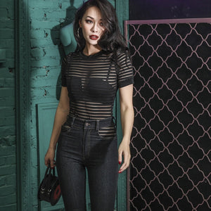 Black Striped See Through Bodysuit Summer Elastic Body Top Tshirt Sexy Bodysuit Women Jumpsuit Playsuit Streetwear