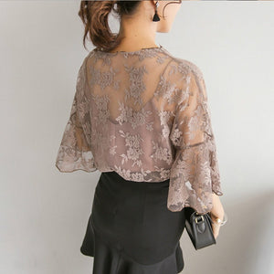 New Sexy Summer Women Chiffon Blouse Hollow Lace Floral Shirts+Tank Casual Tops For Ladies Female Girls