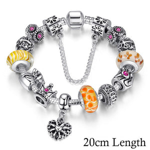 BAMOER Queen Jewelry Silver Charms Bracelet & Bangles With Queen Crown