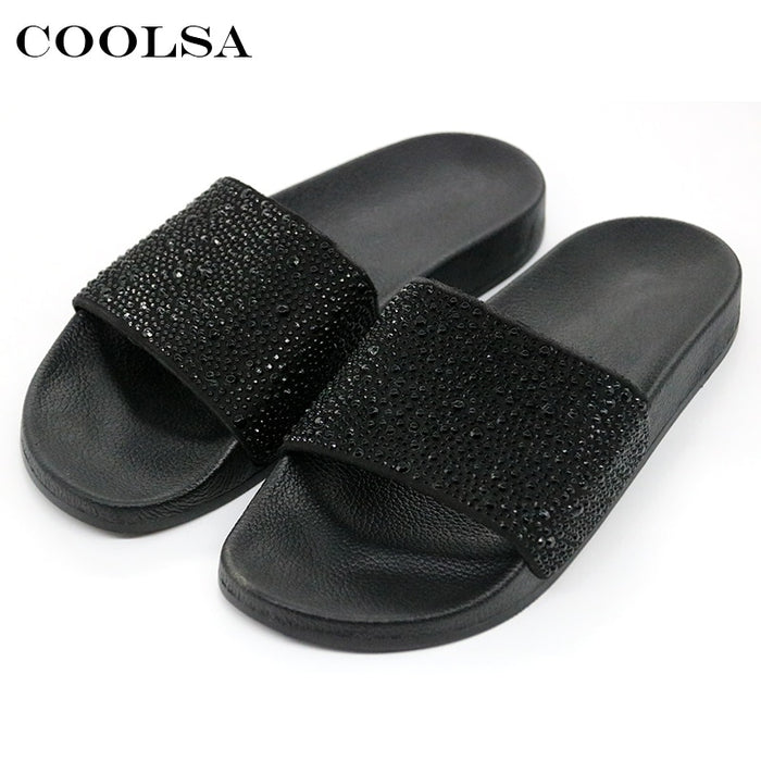 COOLSA Hot Summer Women Slippers Rhinestone Bling Slides Flat Soft Home Flip Flops Female Sparkling Crystal Shoes Beach Sandals