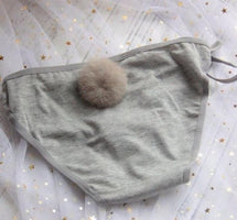 Women Sexy Side Tie Close Panties Cute Rabbit Tail Cotton Briefs Underwear