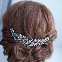 KMVEXO Fashion Leaves Silver bridal hair accessories Handmade Crystal Hair Jewelry Wedding Accessories Headband Women Headpiece