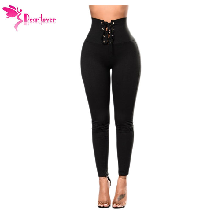 Dear Lover Womens Fitness Legging Black Lace-up High Waist Cincher Leggings Ankle-Length Trousers Gothic Pantalon Femme LC79946