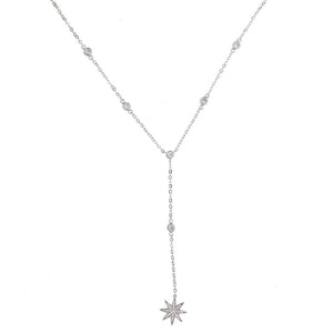 three color long lariat chain cz station bezel cz link chain sparking star charm pendant Y women sexy fashion jewelry necklace