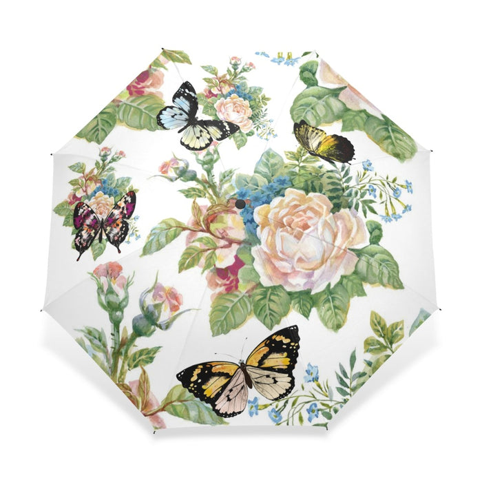 Full Automatic Butterfly Umbrella Three Folding Flower Umbrellas Women Kids Parasol Umbrella Rain Gear Rain Guarda Chuva Paragua