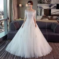 Wedding Dresses Lace Three Quarter Sleeve O-Neck Elegant Plus size