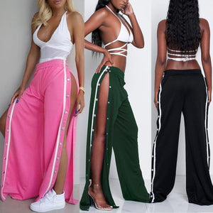 Fashion Women Loose Stretch Jag Rivet High Waist Wide Leg Pants Long Open