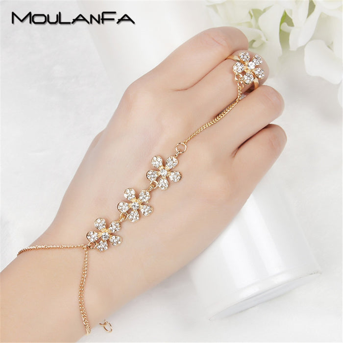 MOULANFA Summer Jewelry gold color Hand Finger Bracelets & Bangles