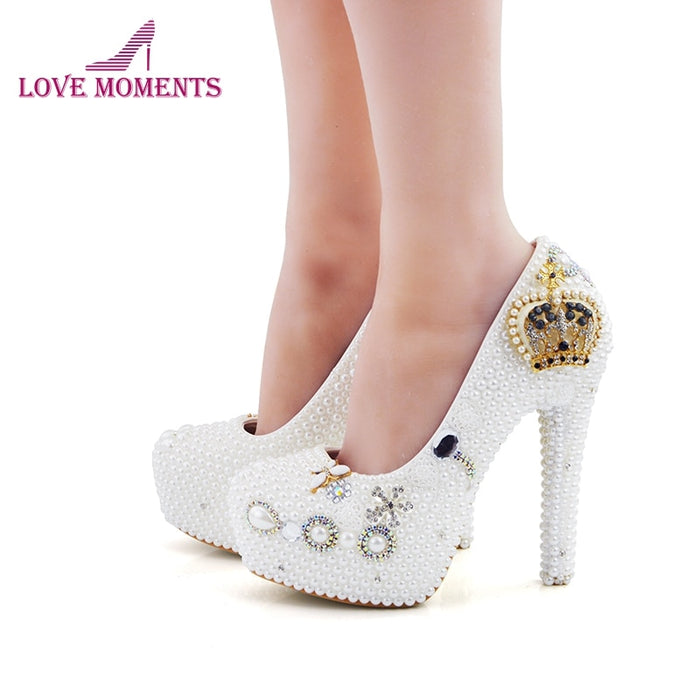 Luxurious Handmade White Pearl Lady Party Prom Shoes High-heeled Wedding Bridal Shoes with Rhinestone Crown Large Size 44 and 45